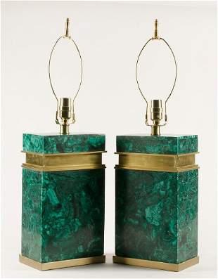 A pair of Modernist malachite veneered lamps
