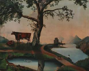 Continental School, Lanscape with cows and ducks