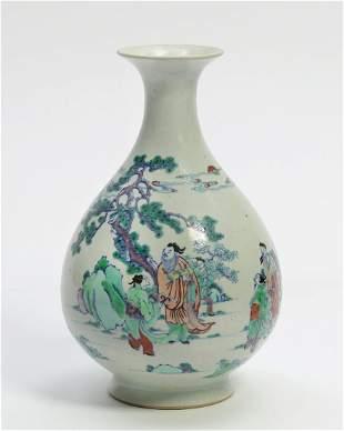 A Chinese porcelain polychrome porcelain vase
