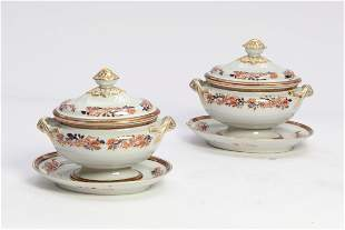 Pair of English ironstone covered sauce tureens