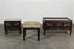 A Chinese low table and two stools