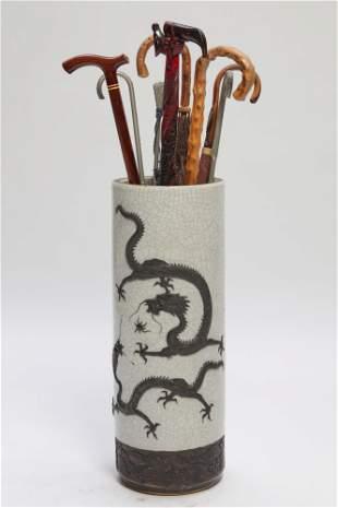 Chinese porcelain stick stand walking sticks