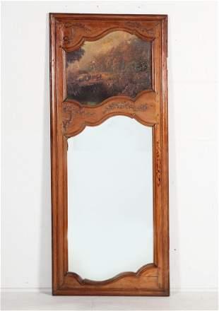 A Louis XV style oak trumeau mirror, 18th c