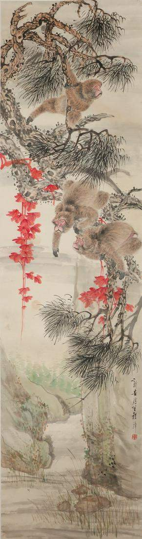 Chinese scroll painting, monkeys amongst trees