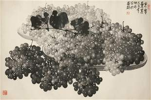 A Chinese ink wash painting; clusters of grapes