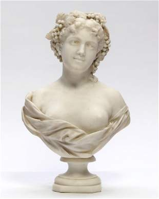 Continental carved marble bust, Leopold Bracony