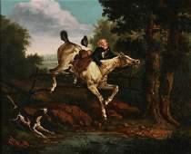 English School, Equestrian landscape oil / canvas
