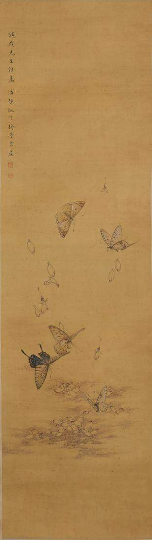 A Chinese scroll painting on silk; butterflies