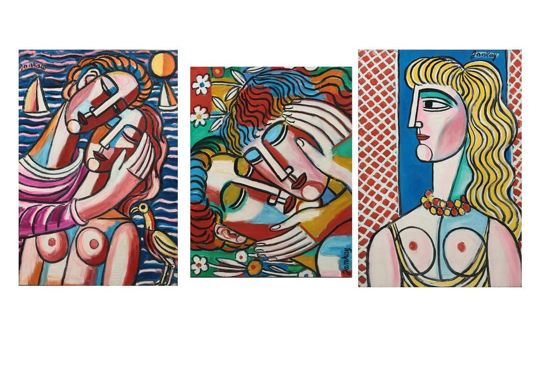 Tibor Jankay, Three works, oil on canvas