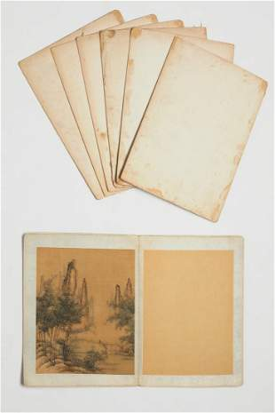 Seven Chinese album paintings after Guan Daosheng