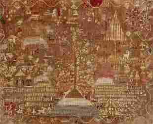 A silk, wool & linen pictorial needlework sampler