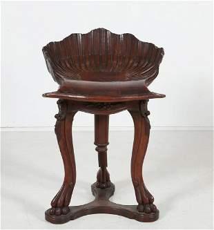 Italian Rococo style walnut grotto piano stool