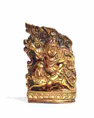 Southeast Asian bronze relief of a deity
