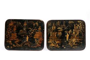 English Chinoiserie decorated papier mache panels