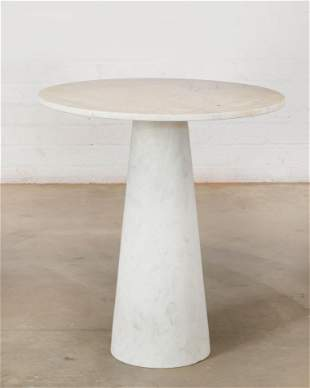 A white marble pedestal table, manner Mangiarotti