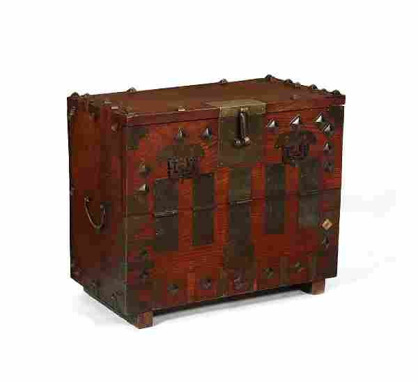 A Japanese bronze mounted elm tansu chest