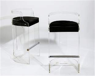 Pair of Hill Manufacturing Corp lucite bar stools
