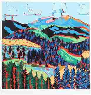 Alyce Frank, Greenie Peak, color serigraph