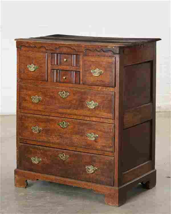 George III Provincial oak Norfolk chest, 18th C
