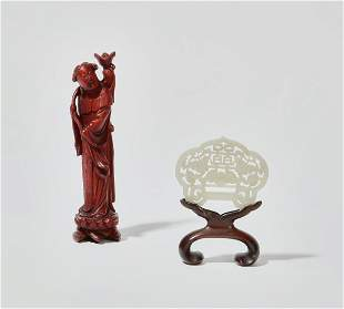 Two Chinese decorative table objects