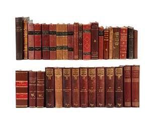 A Group of 34 leather bound books in Danish