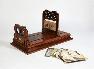Victorian figured walnut stereoscope graphoscope