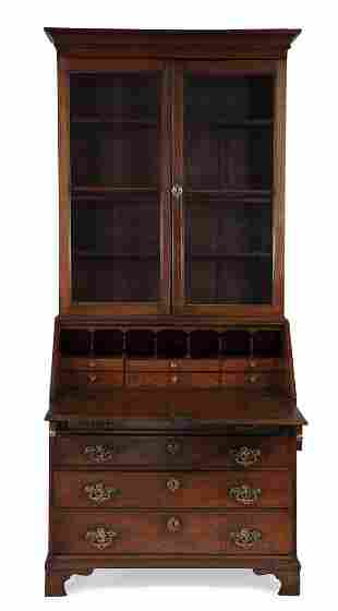 A George III oak secretary bookcase 18th century