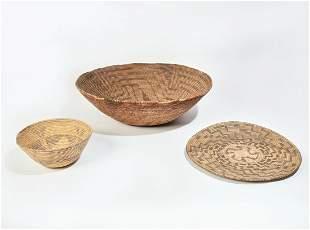 Three Native American woven baskets