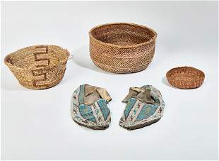 Three Native American baskets and beaded shoes