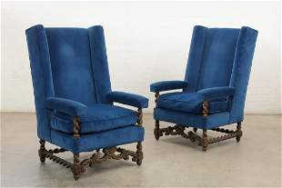 Pair of Baroque style velvet carved oak armchairs