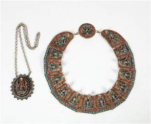 A Nepalese figural necklace and pendant
