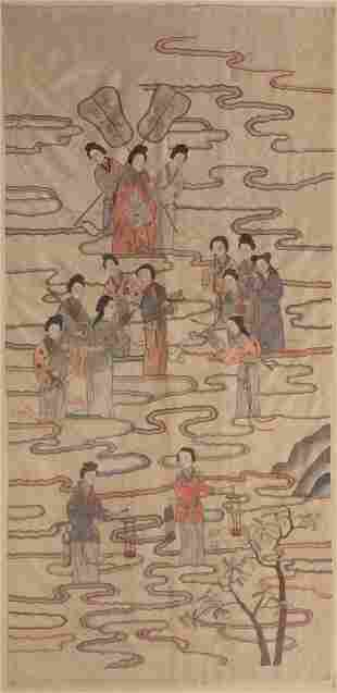 A Chinese silk pictorial panel