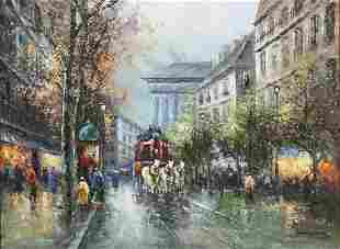 French School, Place de la Madeline oil on canvas