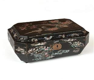Chinese mother of pearl black lacquer table box