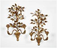 Pair Neoclassical style giltwood wall sconces