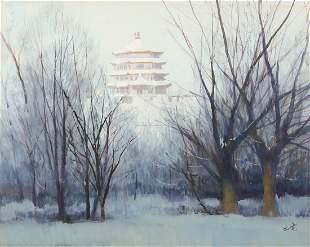 Chen Chudian, Winter landscape, watercolor