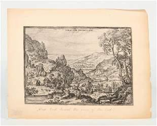 Peter Van der Borcht, Dutch Village, engraving