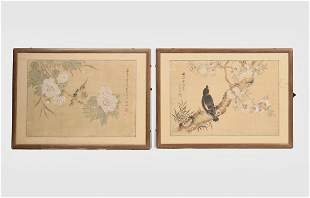 A pair of framed Chinese painting of birds