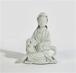 Chinese blanc de chine seated figure of Guanyin