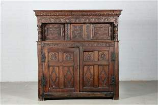 English carved oak court cupboard, 17th century