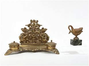French bronze and marble swan form inkwell / box
