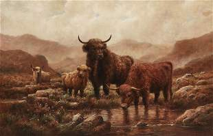 British School, Highland cattle, oil on canvas
