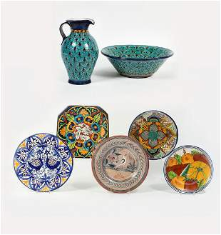 Seven Mexican Talavera style faience pottery