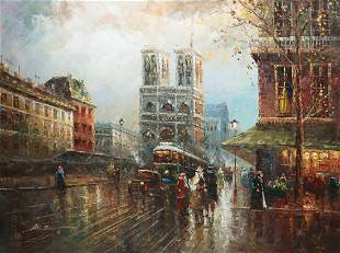 French School, Notre Dame, Paris, oil on canvas