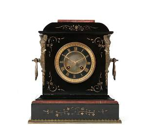 French bronze, rouge marble, slate mantel clock