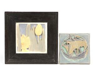 Two Rookwood glazed pottery tiles