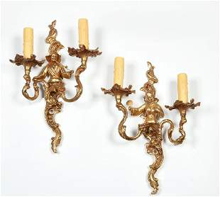 Pair Louis XV bronze 'chinoiserie' wall sconces