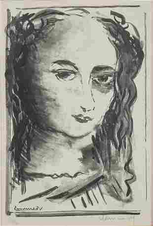 Maurice Vlaminck, Tete de Femme, lithograph