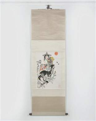 Chinese watercolor scroll painting girl and goats