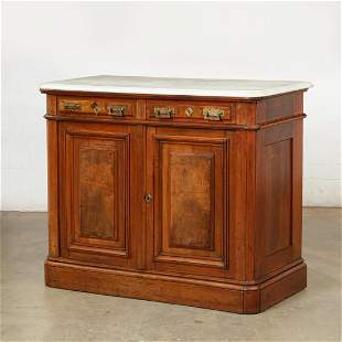 A Continental walnut and oak side cabinet